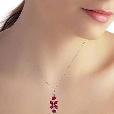 Ruby Blossom Pendant Necklace 3.15ctw in 9ct White Gold