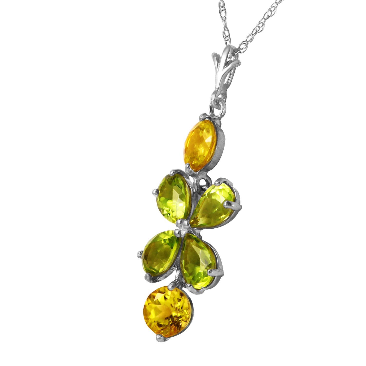 Peridot and Citrine Blossom Pendant Necklace 3.15ctw in 9ct White Gold