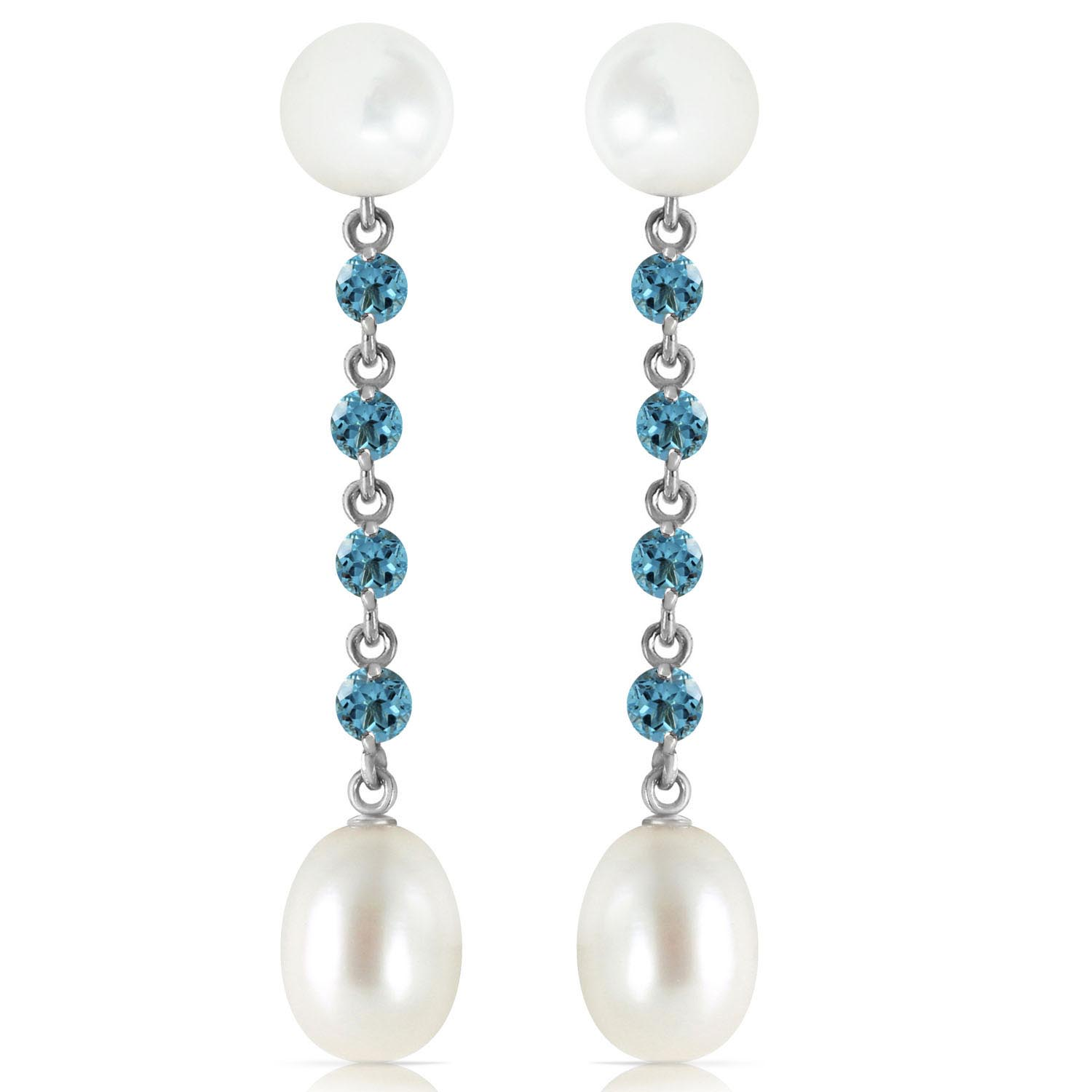 Pearl and Blue Topaz by the Yard Drop Earrings 11.0ctw in 9ct White Gold