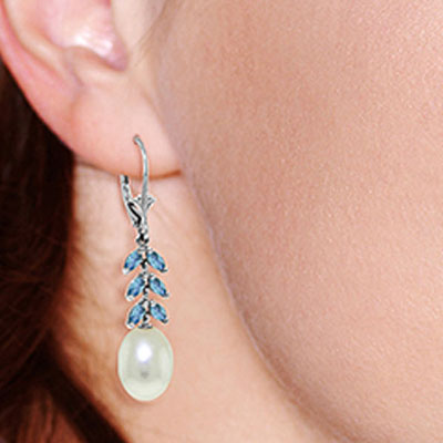 Pearl and Blue Topaz Drop Earrings 9.2ctw in 9ct White Gold