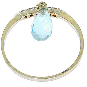 Diamond and Blue Topaz Ring in 9ct White Gold