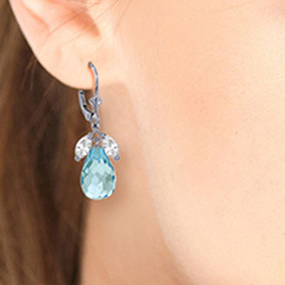 White Topaz and Blue Topaz Drop Earrings 14.4ctw in 9ct White Gold