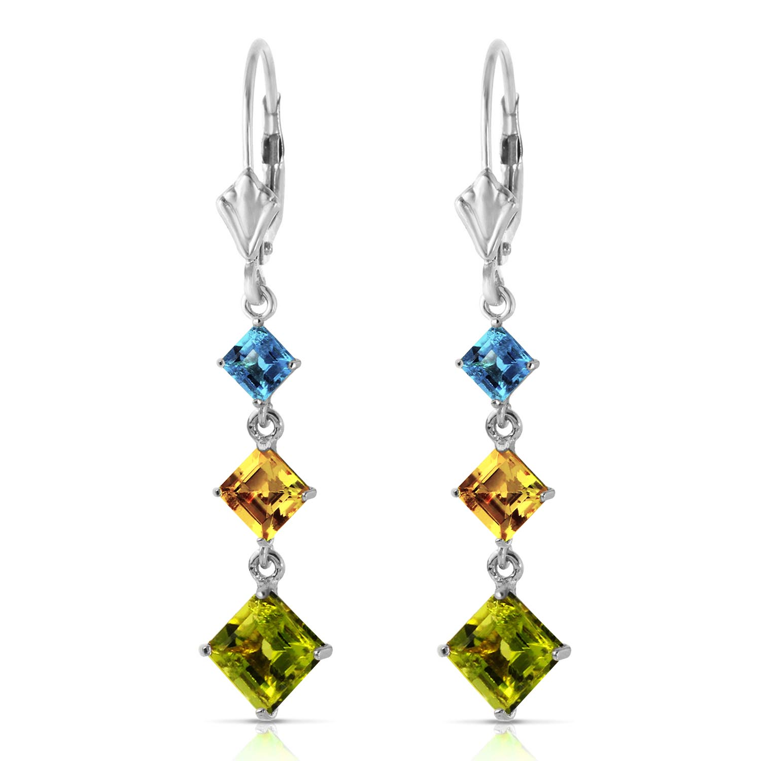 Peridot, Blue Topaz and Citrine Three Stone Drop Earrings 4.8ctw in 9ct White Gold