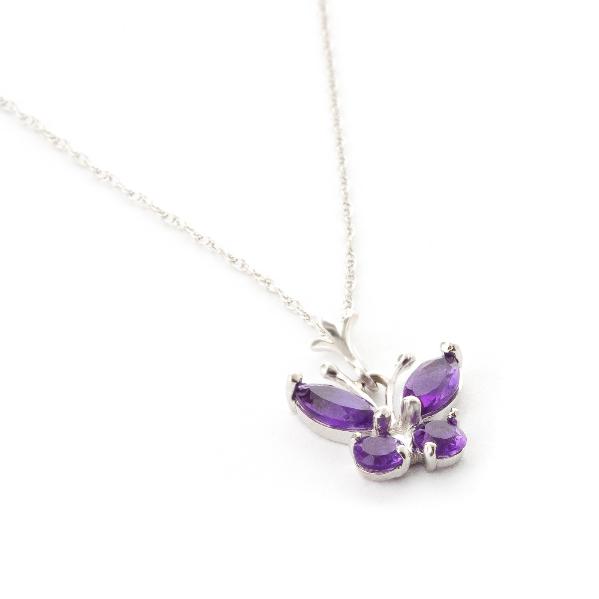 Amethyst Butterfly Pendant Necklace 0.6ctw in 9ct White Gold