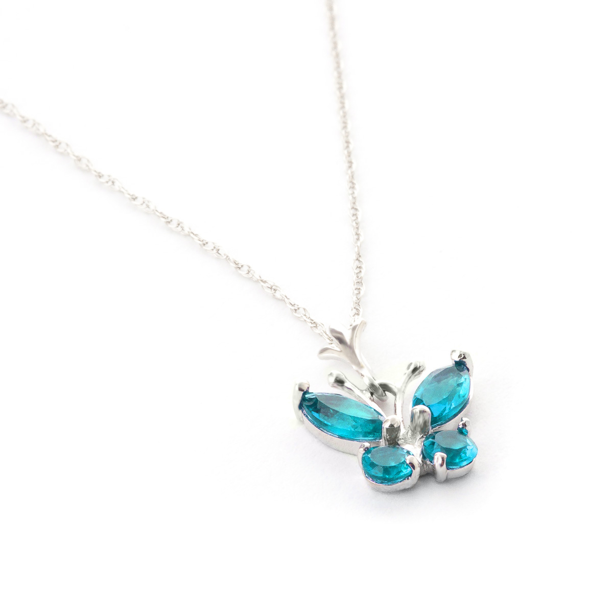 Blue Topaz Butterfly Pendant Necklace 0.6ctw in 9ct White Gold