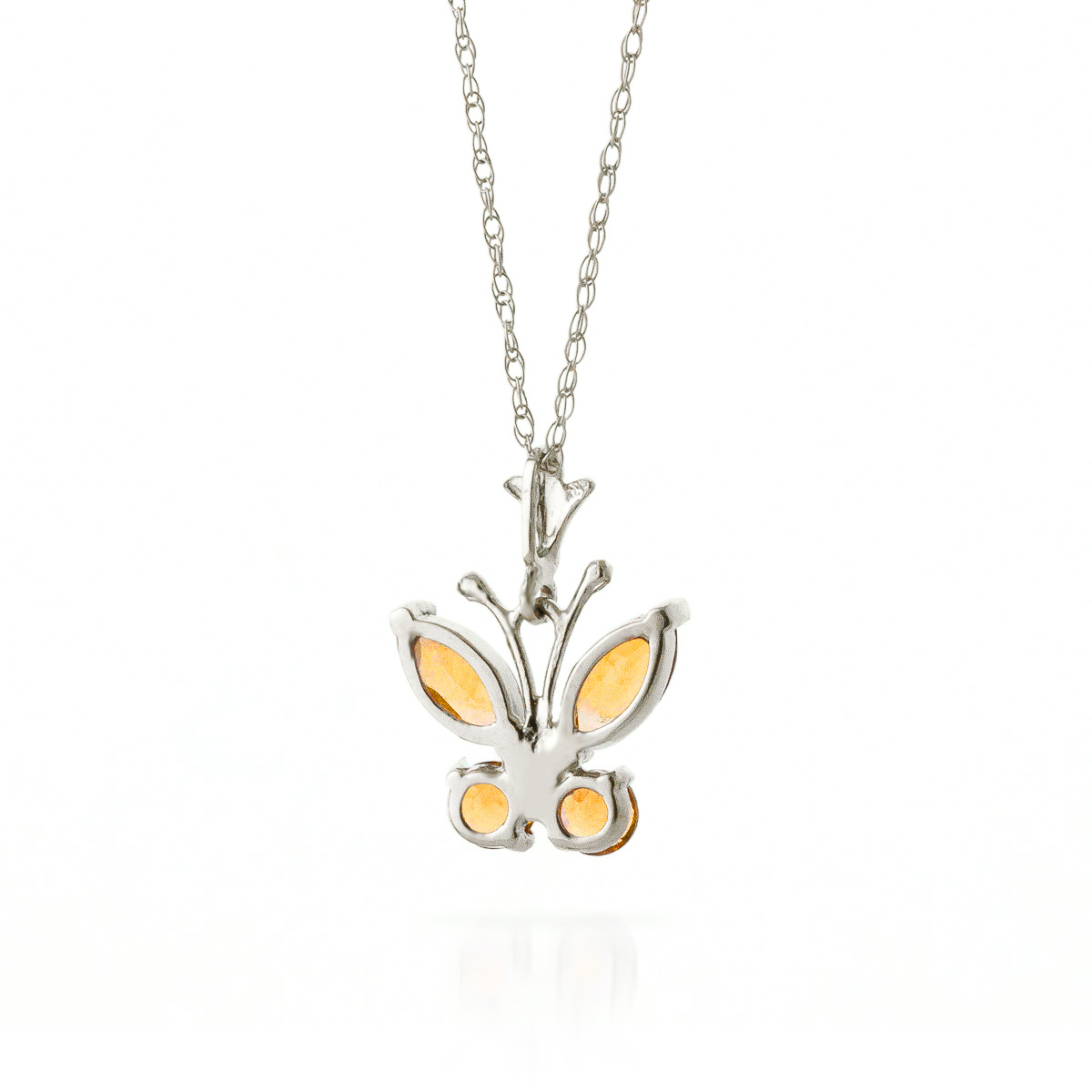 Citrine Butterfly Pendant Necklace 0.6ctw in 9ct White Gold