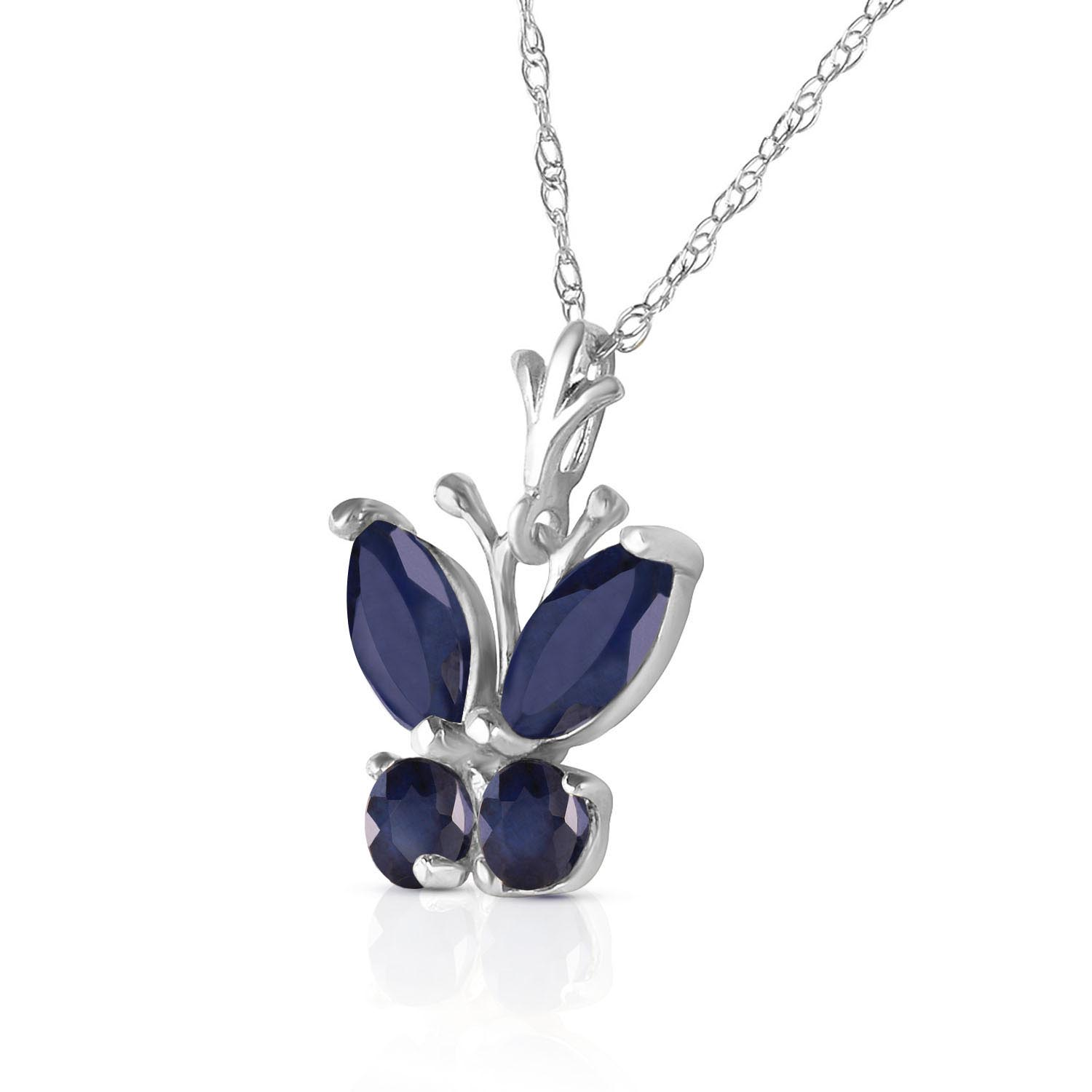 Sapphire Butterfly Pendant Necklace 0.6ctw in 9ct White Gold