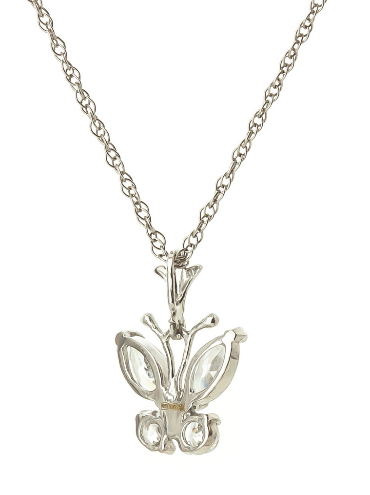 cubic zirconia butterfly pendant necklace 1 5ctw in 9ct