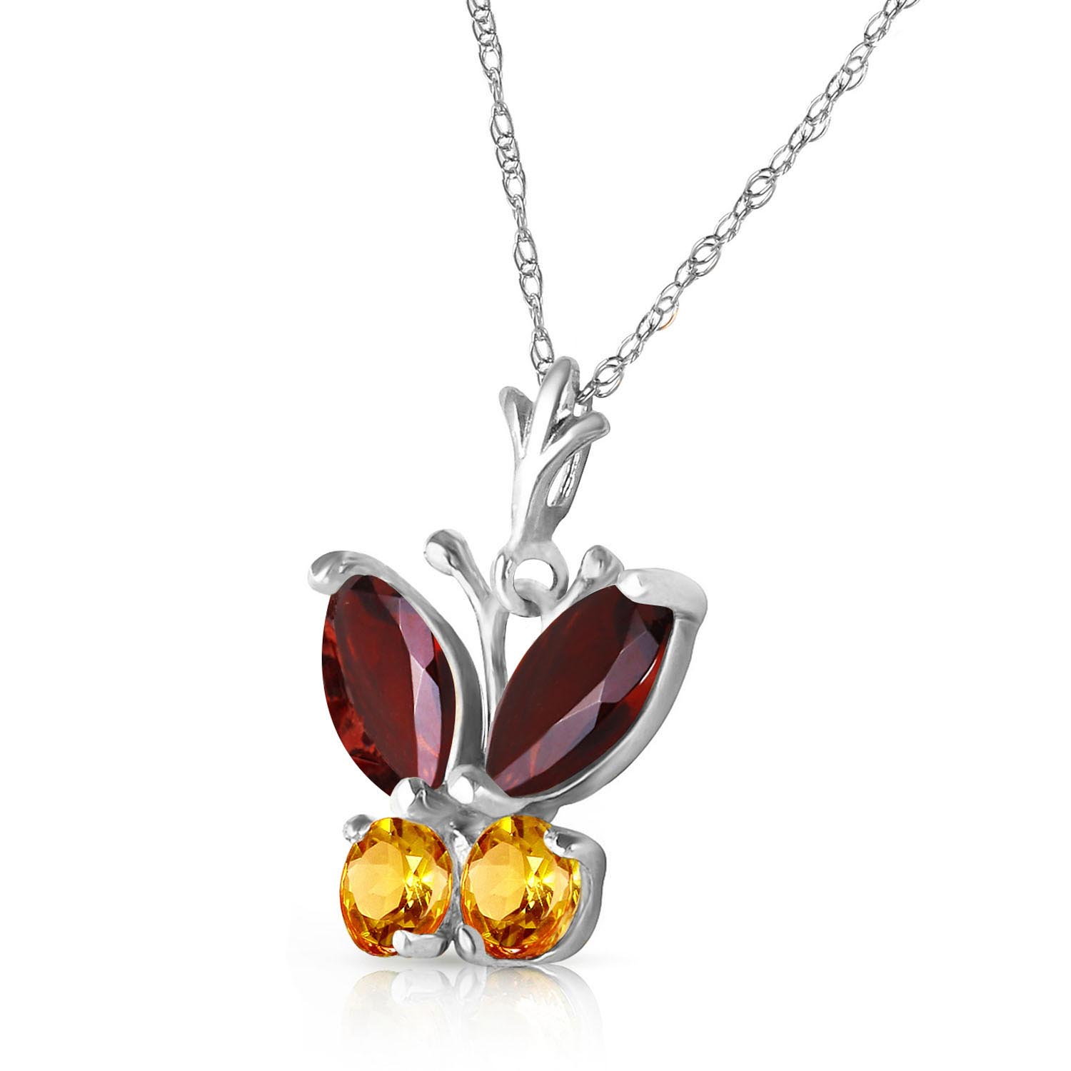 Garnet and Citrine Butterfly Pendant Necklace 0.6ctw in 9ct White Gold