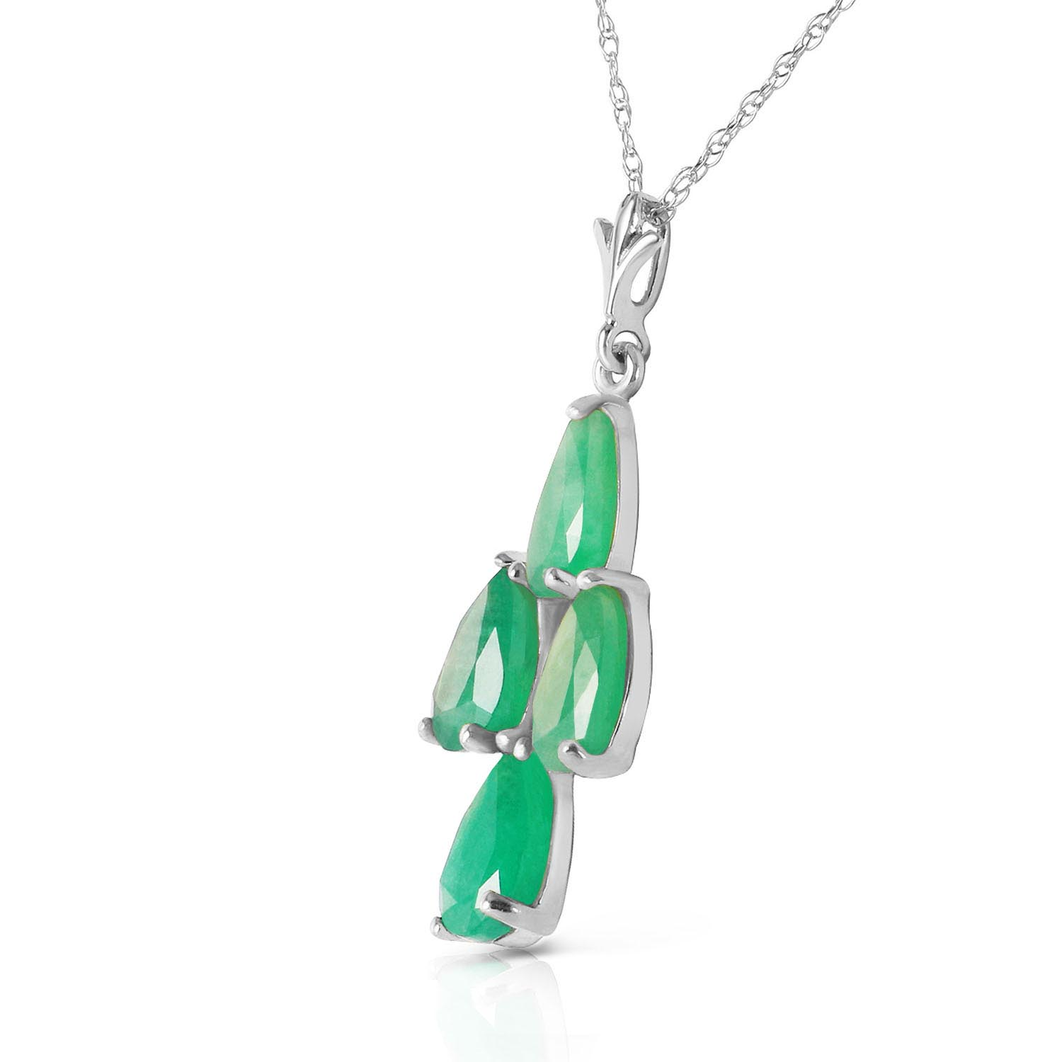 Pear Cut Emerald Pendant Necklace 1.5ctw in 9ct White Gold