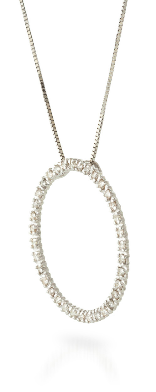 Diamond Circle of Life Pendant Necklace in 9ct White Gold