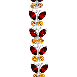 Garnet and Citrine Butterfly Bracelet 16.5ctw in 9ct White Gold