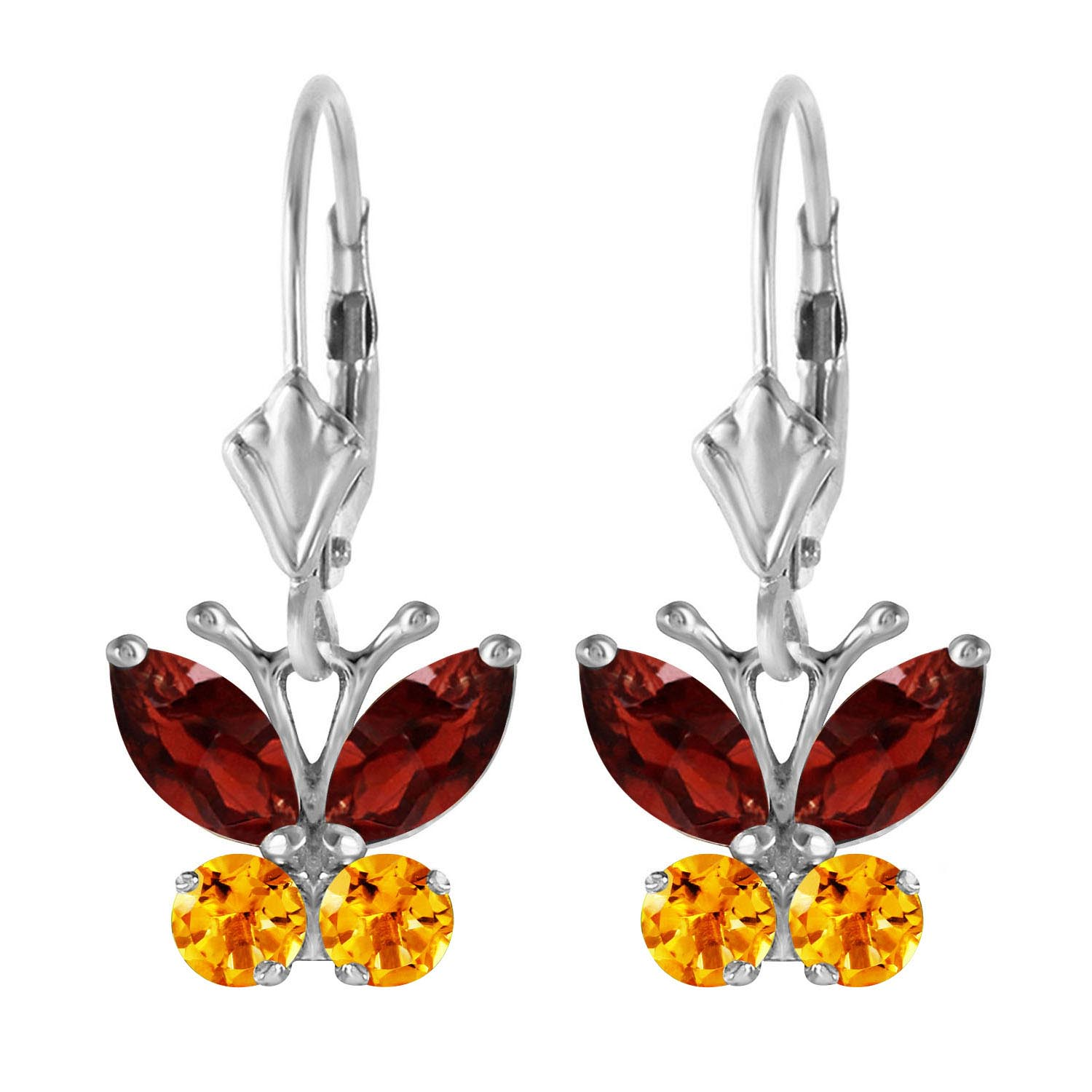 Garnet and Citrine Butterfly Drop Earrings 1.24ctw in 9ct White Gold