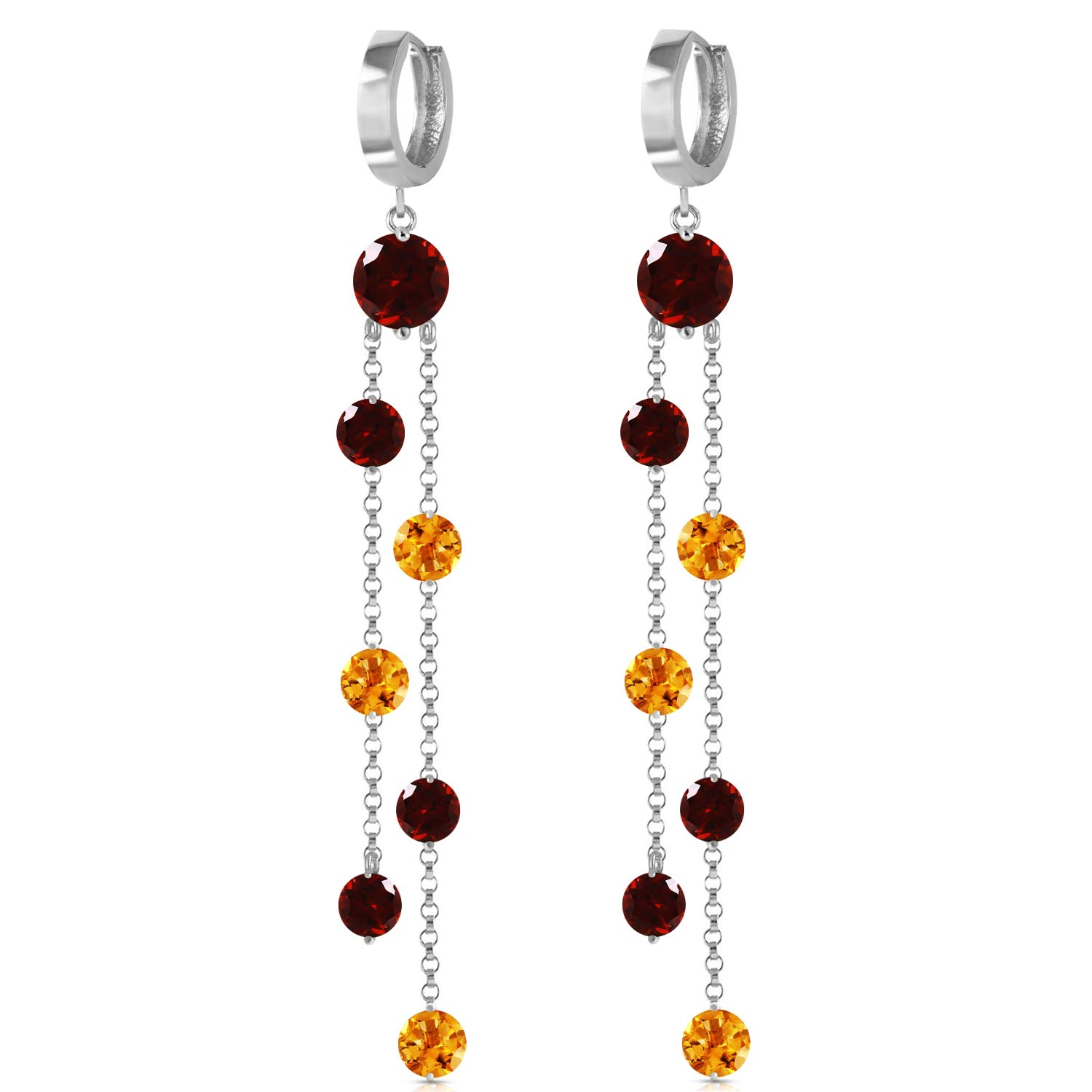 Garnet and Citrine Roman Drop Earrings 8.99ctw in 9ct White Gold