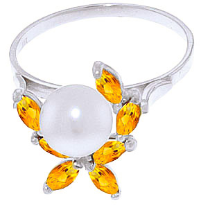 Pearl and Citrine Ivy Ring 2.65ctw in 9ct White Gold