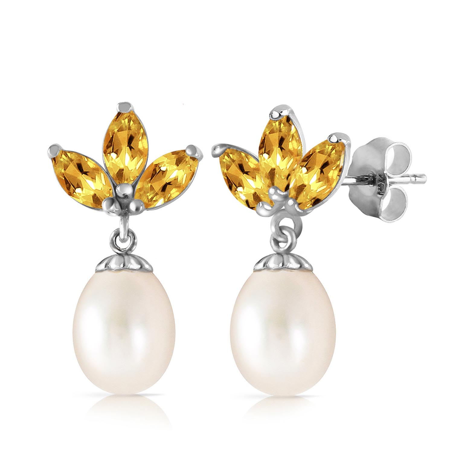Pearl and Citrine Petal Drop Earrings 9.5ctw in 9ct White Gold