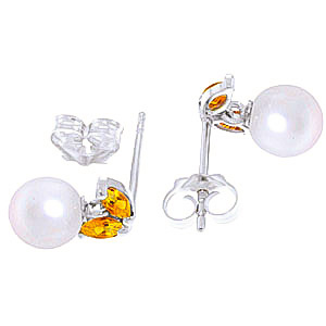 Pearl and Citrine Snowdrop Stud Earrings 4.4ctw in 9ct White Gold