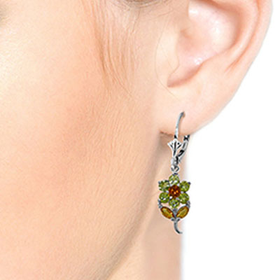 Peridot and Citrine Flower Petal Drop Earrings 2.12ctw in 9ct White Gold