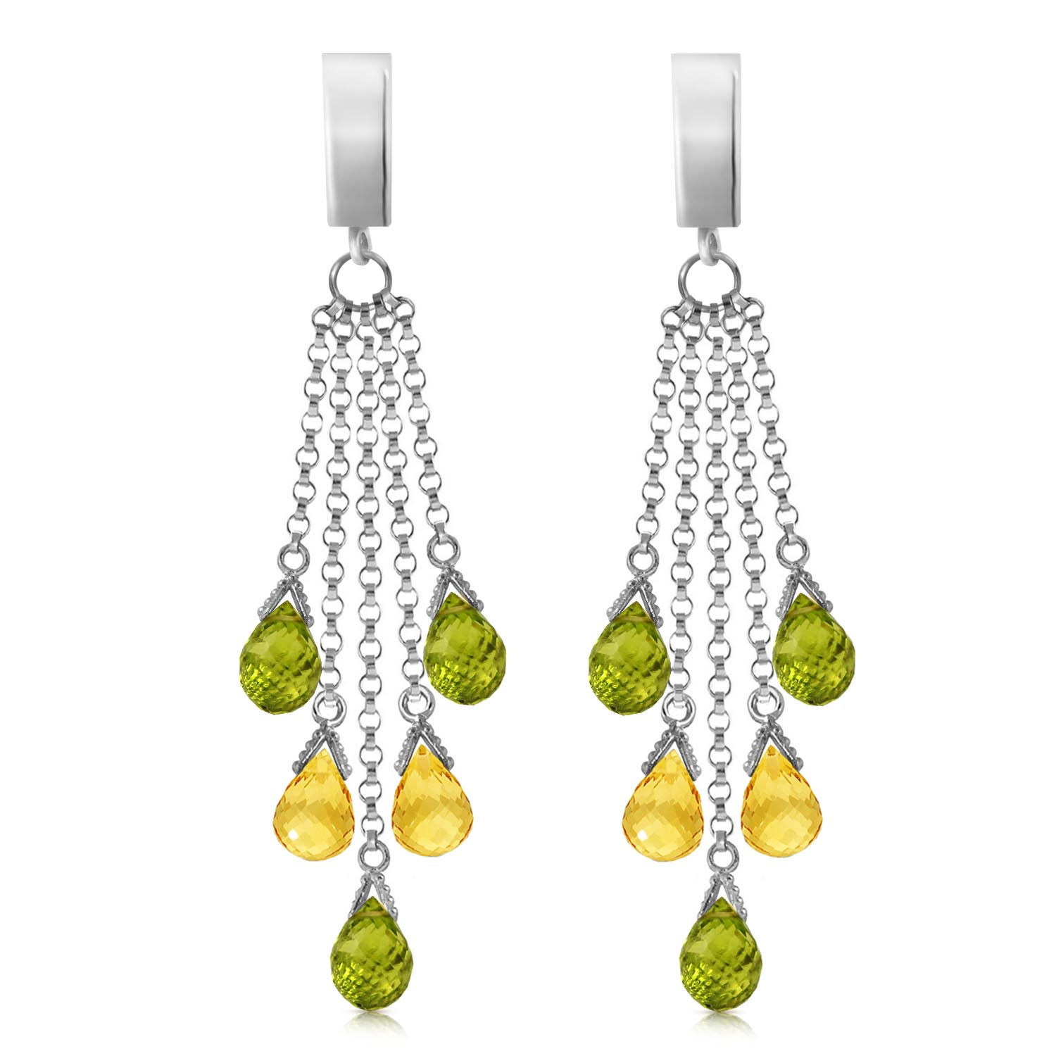 Peridot and Citrine Droplet Earrings 7.3ctw in 9ct White Gold