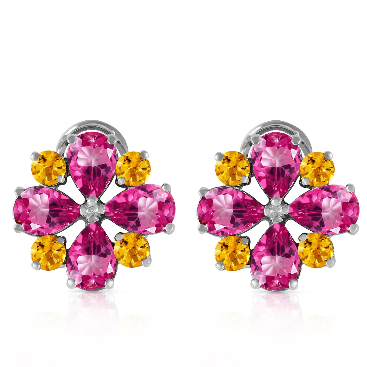 Pink Topaz and Citrine Sunflower Stud French Clip Earrings 4.85ctw in 9ct White Gold