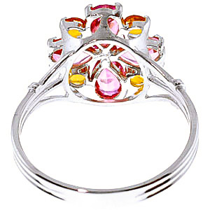 Pink Topaz and Citrine Sunflower Cluster Ring 2.43ctw in 9ct White Gold