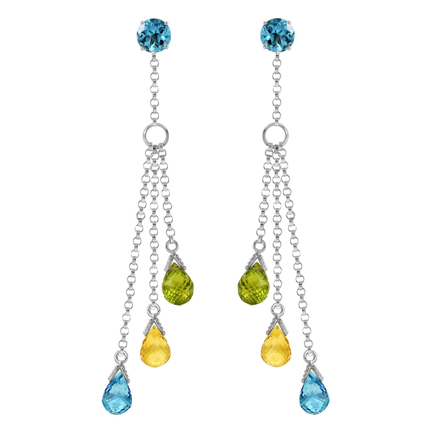 Blue Topaz, Citrine and Peridot Trilogy Droplet Earrings 5.75ctw in 9ct White Gold