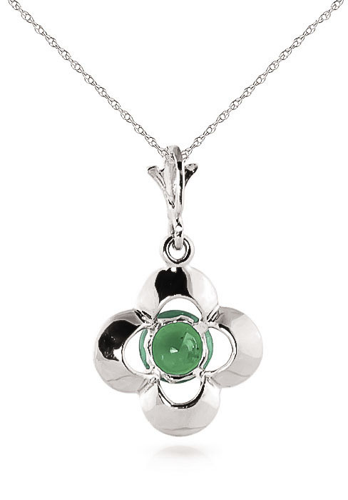 Emerald Corona Pendant Necklace 0.55ct in 9ct White Gold