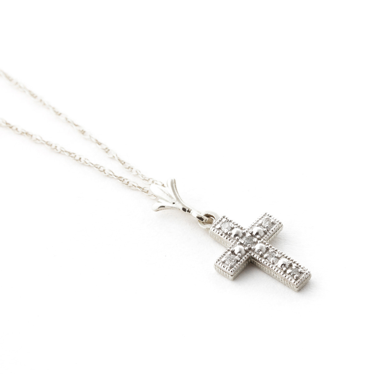 Diamond Cross Pendant Necklace in 9ct White Gold