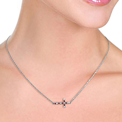 Ruby and Diamond Cross Pendant Necklace 0.15ctw in 9ct White Gold