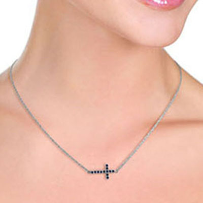 Sapphire Cross Pendant Necklace 0.3ct in 9ct White Gold