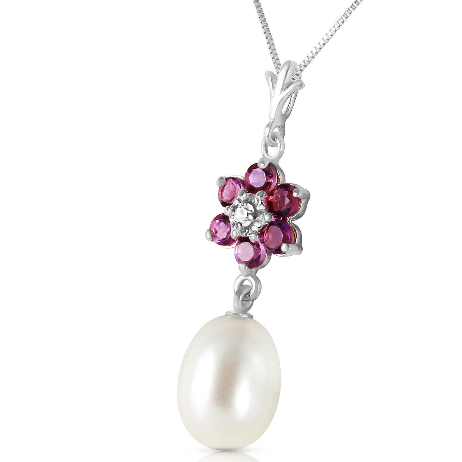 Pearl, Amethyst and Diamond Daisy Pendant Necklace 4.5ctw in 9ct White Gold