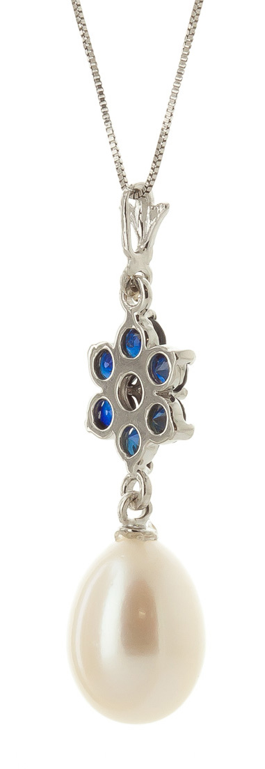 Pearl, Sapphire and Diamond Daisy Pendant Necklace 4.5ctw in 9ct White Gold