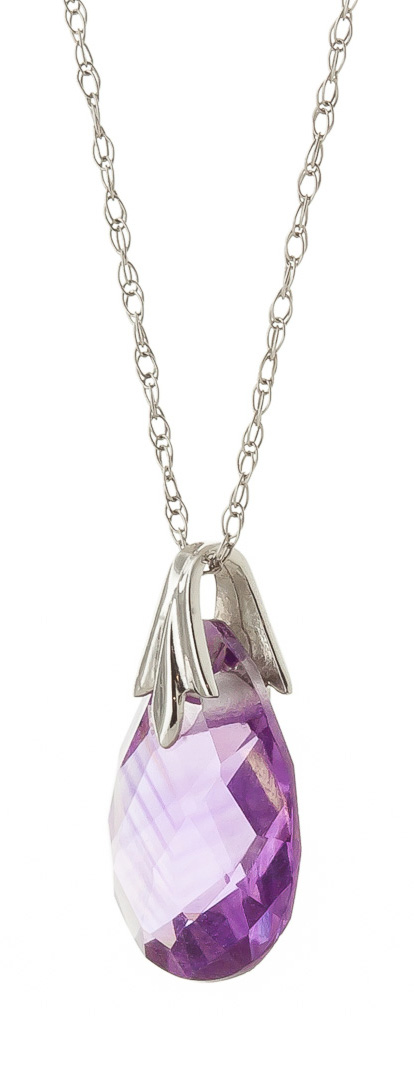 Amethyst Dewdrop Briolette Pendant Necklace 3.0ct in 9ct White Gold
