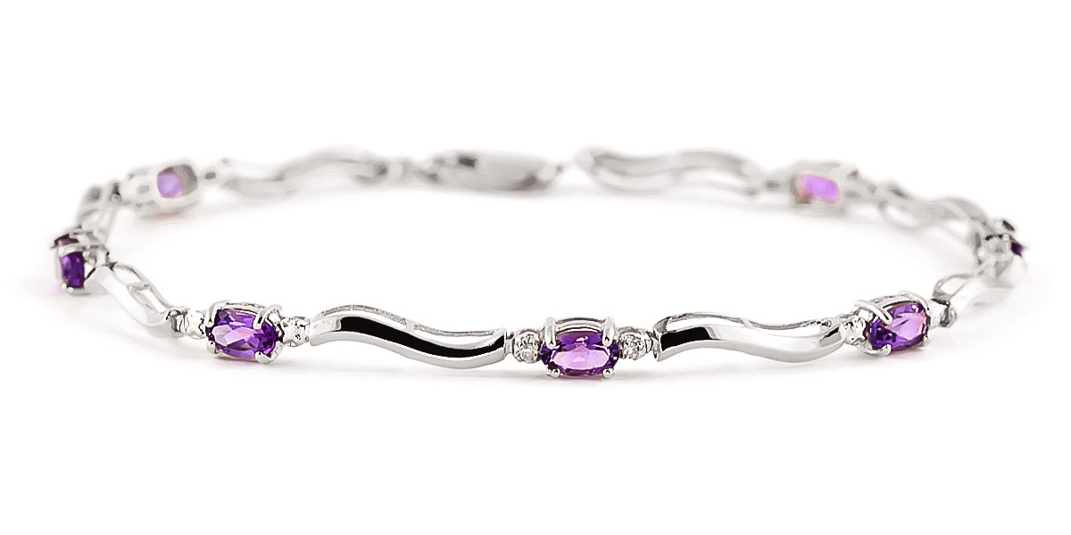 Amethyst and Diamond Classic Tennis Bracelet 2.15ctw in 9ct White Gold
