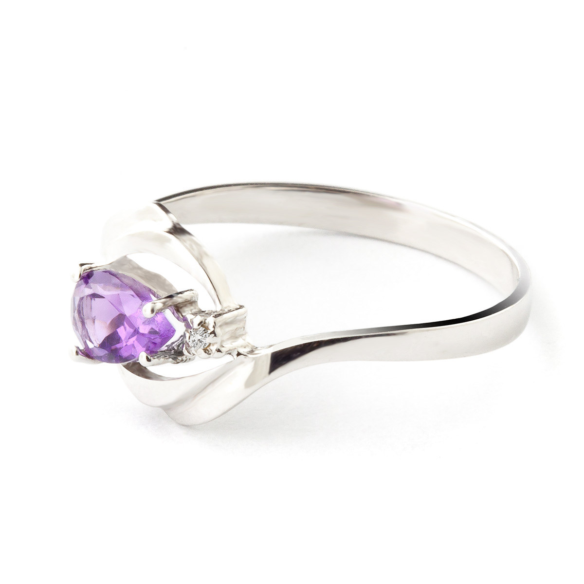 Amethyst and Diamond Flare Ring 0.5ct in 9ct White Gold