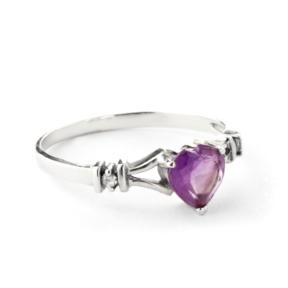Amethyst and Diamond Ring 0.45ct in 9ct White Gold