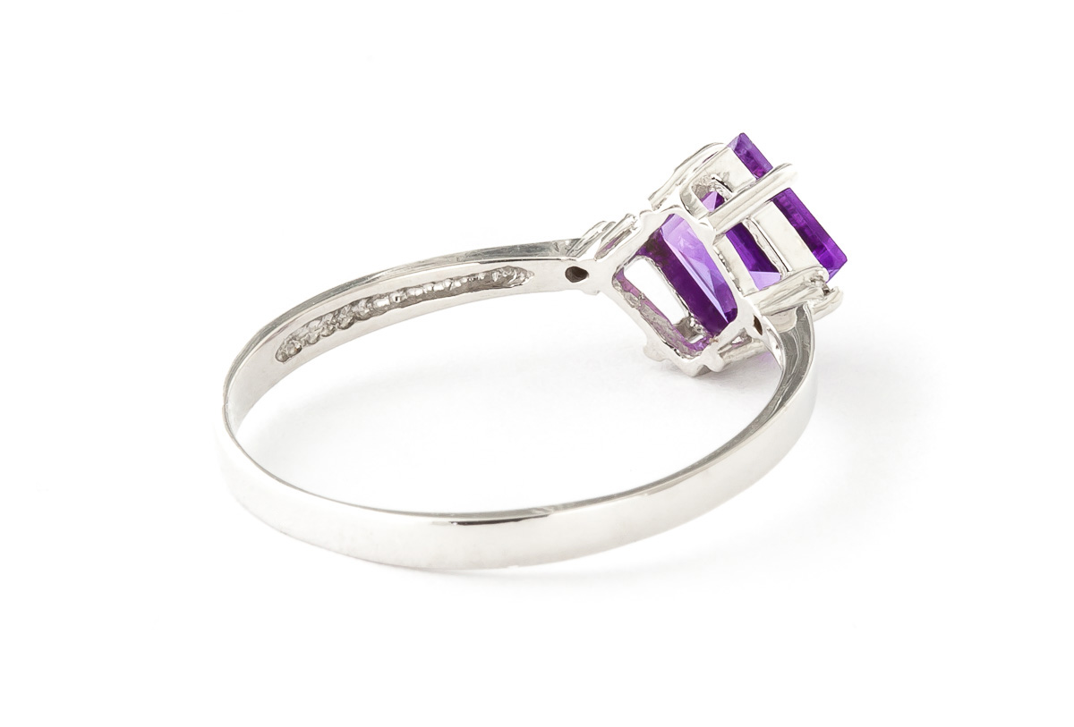 Amethyst and Diamond Ring 1.75ct in 9ct White Gold