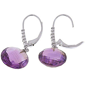Amethyst and Diamond Chequer Cut Drop Earrings 10.6ctw in 9ct White Gold