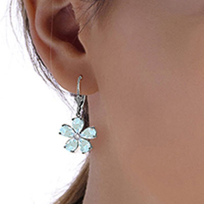 Aquamarine and Diamond Flower Petal Drop Earrings 4.4ctw in 9ct White Gold