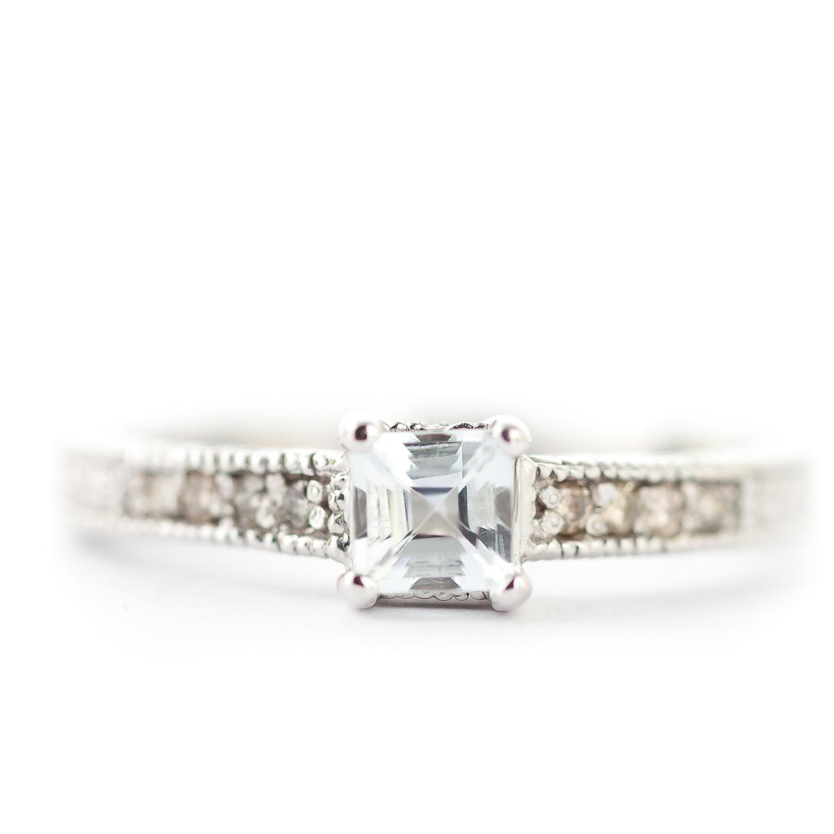 Aquamarine and Diamond Shoulder Set Ring 0.5ct in 9ct White Gold