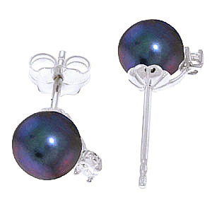 Black Pearl and Diamond Stud Earrings 4.0ctw in 9ct White Gold