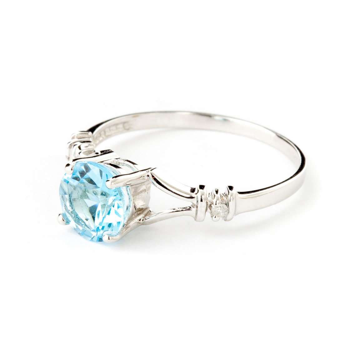 Blue Topaz and Diamond Aspire Ring 1.0ct in 9ct White Gold
