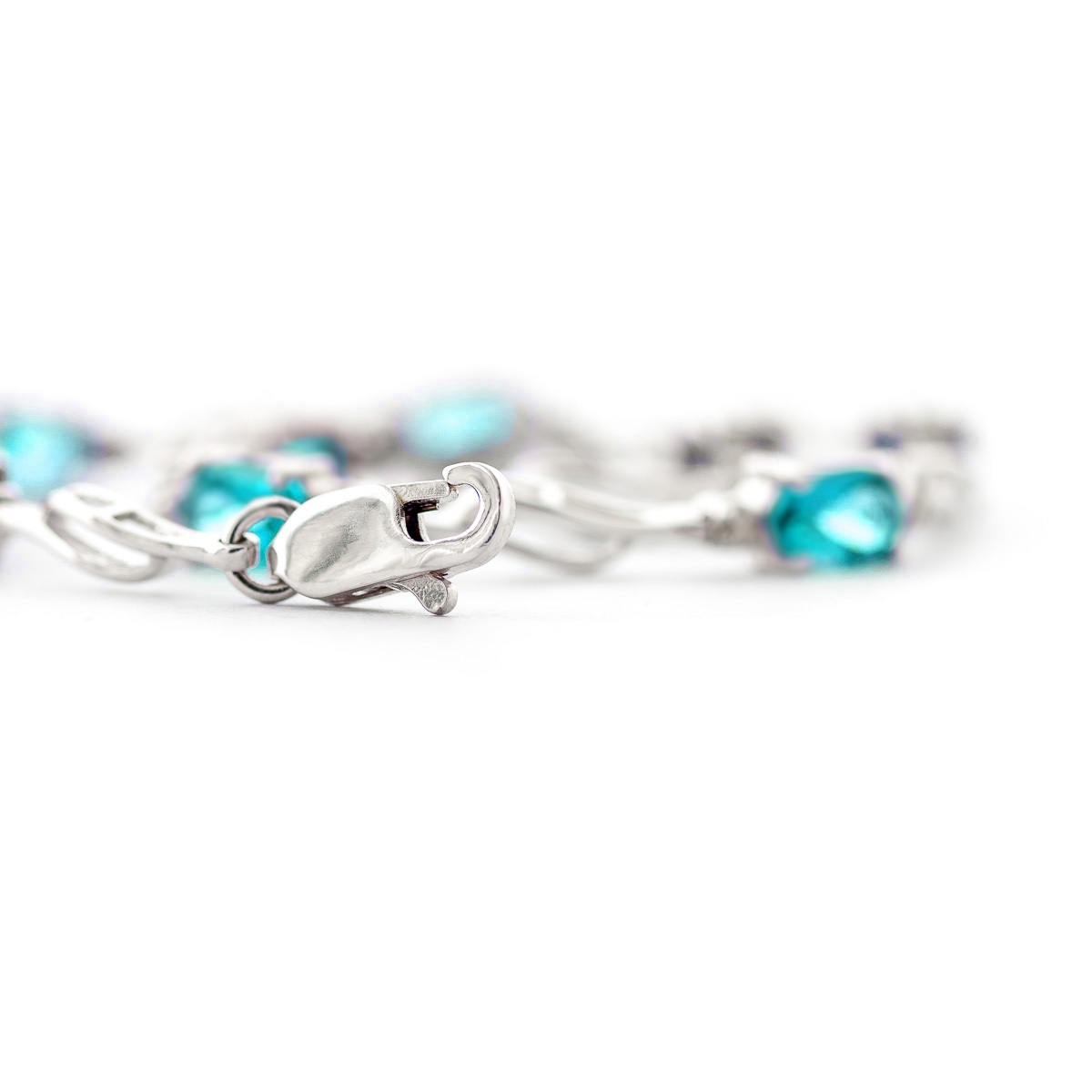 Blue Topaz and Diamond Classic Tennis Bracelet 3.38ctw in 9ct White Gold