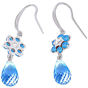 Blue Topaz and Diamond Daisy Chain Drop Earrings 5.45ctw in 9ct White Gold