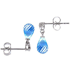 Blue Topaz and Diamond Droplet Earrings 2.7ctw in 9ct White Gold