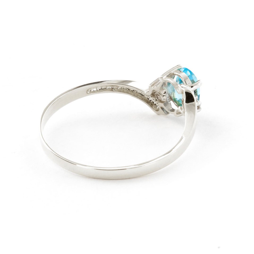 Blue Topaz and Diamond Embrace Ring 0.45ct in 9ct White Gold