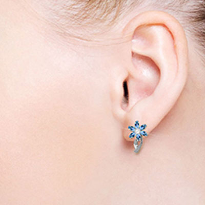 Blue Topaz and Diamond Flower Petal Stud Earrings 1.0ctw in 9ct White Gold