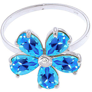 Blue Topaz and Diamond Five Petal Ring 2.2ctw in 9ct White Gold