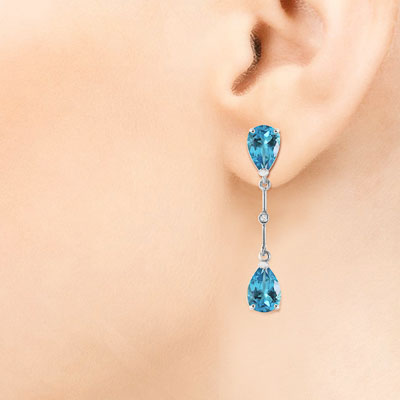 Blue Topaz and Diamond Drop Earrings 7.0ctw in 9ct White Gold