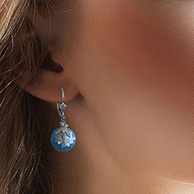 Blue Topaz and Diamond Olive Leaf Drop Earrings 10.6ctw in 9ct White Gold